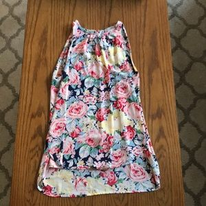 Floral High Neck High/Low Top
